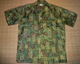 Mens Vintage 70s Barefoot Freaky Tiki Hawaiian Aloha Shirt - L - The Hana Shirt Co