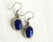 Lapis Dangle Earrings Mexican Sterling Silver Dangles Vintage Blue Everyday Oval Drops