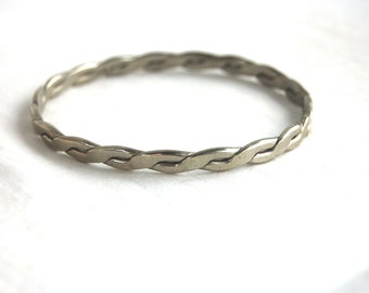 Mexican Bangle Bracelet Vintage Alpaca Jewelry Braided Silver Tone Stacking Bangle