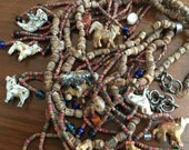 Vintage Wooden BOHO Animal Necklace - Layered Very Old Necklace -  Tribal Ethnic Jewelry