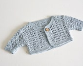 baby bolero jacket - cotton - cropped cardigan - 6 - 9 months - organic cotton - pale blue - baby blue - crochet bolero