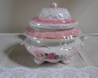 Pink lusterware lidded dish pink rose dish lidded candy dish ceramic iridescent finish shabby pink lidded dish vintage candy dish