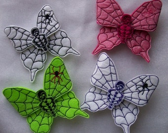 Spider Web Butterfly Hair Clips with Skeleton Centers,  Goth Butterfly Spider Web Hair Clips, Halloween Hair Clips