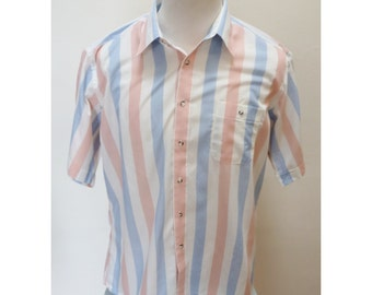 Vintage 80s Pink & Blue Striped Shirt - XL