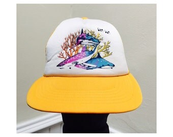 Vintage 1980s Shark Cancun Trucker Hat