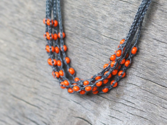 Layered necklace with tangerine glass beads Orange grey multi strand crochet necklace Boho chic jewelry Rustic chic