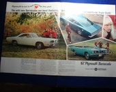 Vintage Magazine Original Promo Ad Great for Framing  1967 2 Pg  Plymouth Barracuda ID1201a