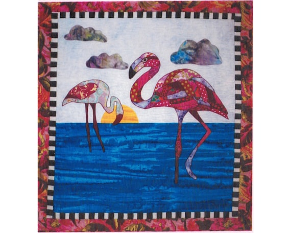 Felicia Flamingo Fusible Applique Quilt 36 inch by 38 inch Wall Hanging Pattern by bj designs and patterns
