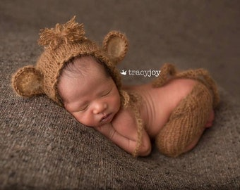 knitted baby monkey outfit,new born mohair outfit,animal bonnet
