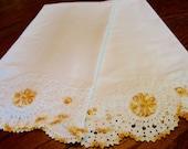 Vintage White Pillowcases Pair Crochet Trim Exquisite Bed Linens Bedding