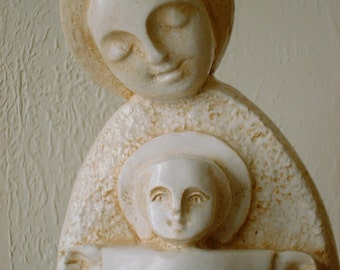 Stylized Mexico Madonna and Child Sculpture Casting in faux Stone