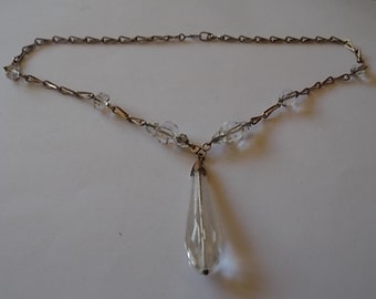Vintage Art Deco Rock Crystal Chain Necklace LOVELY