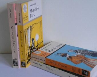 4 x Vintage Classics Book Block, Everyman Paperback, Bronte and Austen Circa 1960.