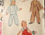 Bib Overalls Jacket Hat vintage 40s 50s sewing pattern toddler baby child boy girl 1 monkey balloon embroidery transfer Simplicity 2562