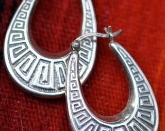 Vintage Sterling Silver Greek Key Dangle Earrings