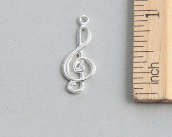 925 Sterling Silver Charm, Sterling Silver Treble Clef Charm, Sterling Silver Music Note Charm, Music Charm, Hobby Charm, 24mm ( 1 piece )