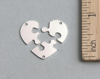 3 Heart Puzzle Pendant, Heart Puzzles charms, 3 Piece heart puzzle, 925 Sterling Silver 3 piece heart puzzle, Puzzle Tags, 19mm ( 1 piece )