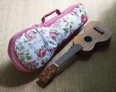 Soprano ukulele case - Floral pattern Ukulele Bag (Ready to ship)
