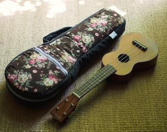 Soprano Ukulele Case - Floral pattern - Ukulele Case with hidden pocket (Ready to ship)