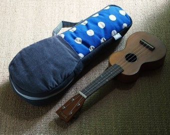 Soprano ukulele case - Patchwork series - Blue and white polk dots Ukulele Bag (Ready to ship)