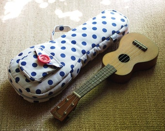 SALE - Soprano ukulele case - Creamy white and blue Polka dot Ukulele Case (Ready to ship)