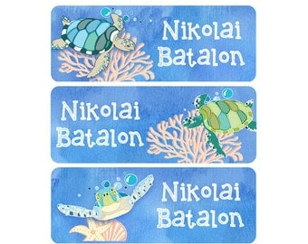 Daycare Name Labels, Gender Neutral, Boy, Girl, Waterproof Name Labels, Name Labels, School Name Labels, Sea Turtles, Nautical, Turtle