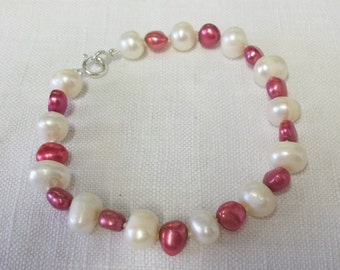 Pink and White Freshwater Pearl Bracelet Silver Clasp