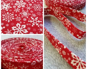 1/2 inch Double Fold Bias Tape -Christmas Red and White Floral - 3 yards