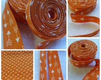 "3 Yards 1/2"" Double Fold Orange with White Arrow Printed Bias Tape / 6 Yards 1"" Single Fold Binding Tape - 3 Yards, 6 Yards"