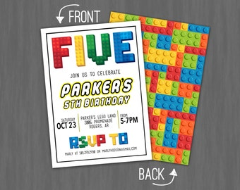 Lego Party Invitation- Boy birthday, lego movie, game // Digital or Printed (FREE SHIPPING!)