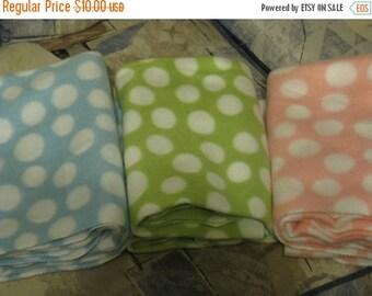 Summer Sale Take your Pick - Blue, Green or Pink Fleece baby blanket