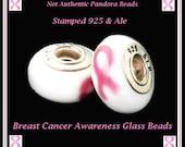 Stamped 925 Ale PAND0RA ~ PINK RIBBoN Breast Cancer Awareness ~ Single Core Murano Lampwork Glass Bead w Screw - fit European Bracelet - SC