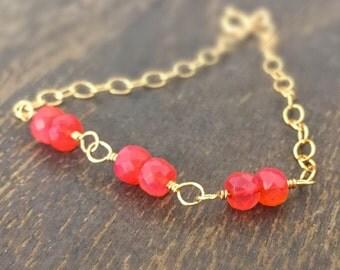Orange Bracelet - Chalcedony Gemstone Jewelry - Fanta Orange - Gold Filled Chain Jewellery