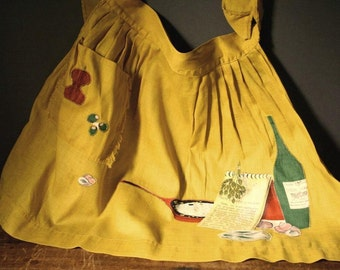 Vintage French half apron, saffron yellow half apron, retro kitchen apron