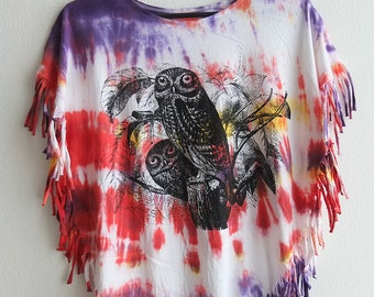 owl birds tie dyed hippie rock tassels t-shirt top small poncho