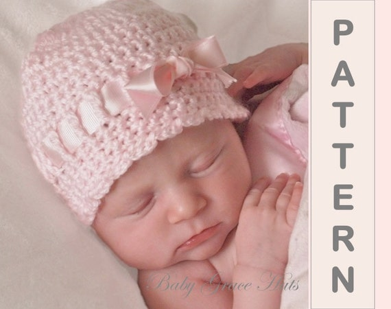 Crochet Pattern Newborn Girl Hat : Baby Hat PATTERN Crochet Newborn Hat Baby Girl Hat Easy