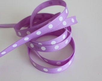 """3/8"""" Grosgrain Ribbon Single Dotted - Orchid Dotted Grosgrain- 5 yards"""