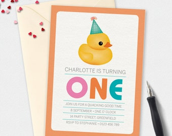 Birthday Invitation, Rubber Duck invitation, party hat invitation, Custom invitation, 5x7 invitation, 4x6 invitation, party invitation, kids