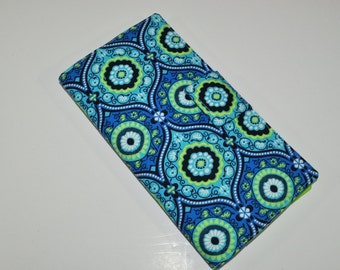 Medallion Print Travel Wallet - Blue and Green Boarding Pass Organizer - Magnet Tab - Fabric Passport Wallet - Gift for Traveler
