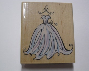 Inkadinkado Wood Mounted Rubber Stamp -  Wedding Gown