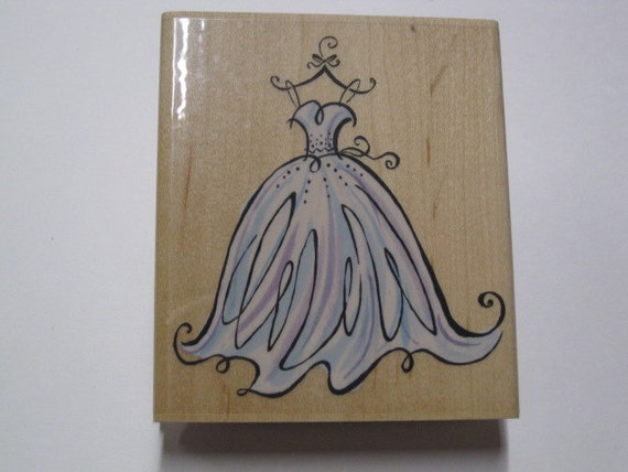 Inkadinkado wood mounted rubber stamp wedding gown from for Wedding dress rubber stamp