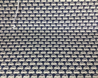 Japanese Kokka dark blueBack Ground with white vintage cars.  canvas type material 100 percent cotton from Japan 1 yard