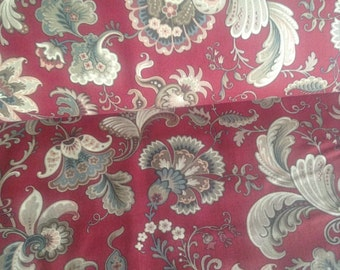 Red with tan gold and blue floral designs Basics Borders and Backs Molly B's Studio for Marcus Fabrics 1 Yard