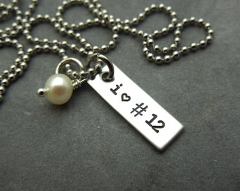 I heart #, hand stamped stainless steel rectangle tag necklace, sports fan, sports mom, school spirit
