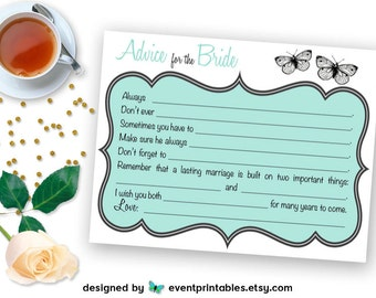 Printable Bridal Shower Mad Libs, Butterfly Advice for the Bride Cards, Robin's Egg Blue, Mint Shower Game DIGITAL FILE by Event Printables