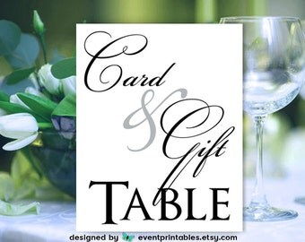 Card and Gift Table Sign, Printable Wedding Sign, Simply Elegant Collection, INSTANT DOWNLOAD Digital File by Event Printables