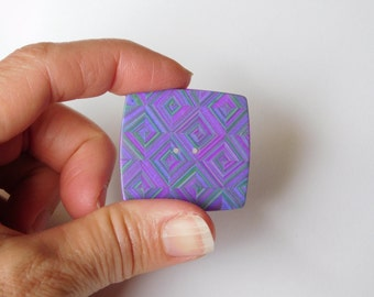 Large Square Polymer Clay Sewing Button, magenta and green diamond design