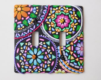 Double Switchplate Cover, polymer clay mandala decorated light switch cover