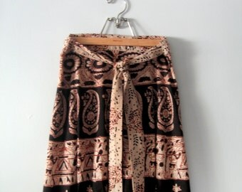 Vintage 70's Bohemian / Hippie Indian Print Cotton Wrap Maxi Skirt
