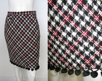 Fantastic 1970s Bill Blass Red Ivory Black Houndstooth Pencil Skirt with Pom Pom Trim at Hem